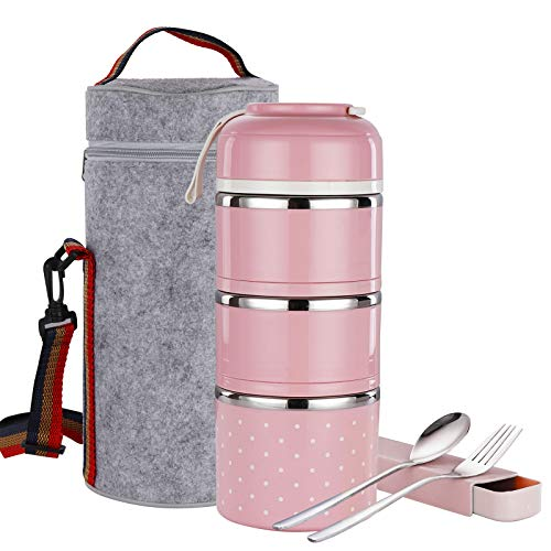 Stackable Lunch Box, ArderLive Stainless Steel Thermal Insulated Bento Lunch Container with Lunch Bag & Cutlery , Leakproof Food Storage Container for Office Kids.(3Layer,Pink)