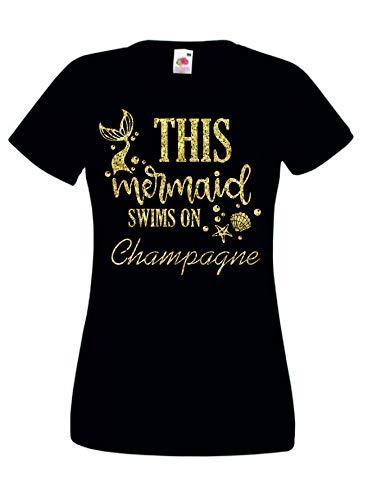 Print my Tee Alcohol Camiseta Divertida Beber Camiseta Esta Sirena Nada Champán Sirena Regalo Mujeres Tallas S - XXL Negro Negro ( XXL