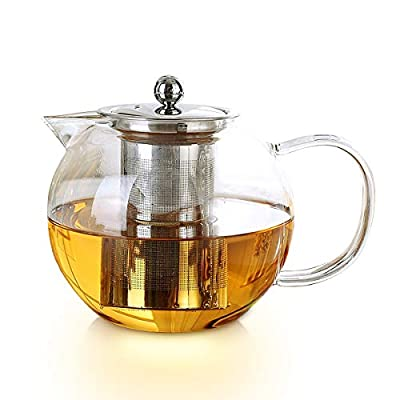 Glass Teapot, Clear Glass Tea Kettle Pot with Removable Stainless Steel Strainer ,Stovetop and Microwave Safe Kettle,Perfect For Loose Leaf Tea, Blooming Tea, Tea Bags, Herb Tea (27 oz / 800 ml)