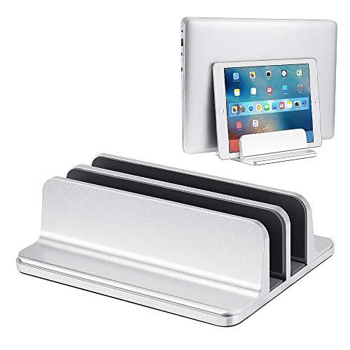 ShangSky Tablet-/PC-Ständer mit 2 Fächern, für Laptop, Aluminiumlegierung, vertikal, verstellbar, multifunktional, 3D-gebogene Oberfläche, rutschfest, kratzfest, Silikon, silberfarben