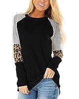 Aifer Women's Casual Leopard Color Block Tunics Long Sleeve Crew Neck Patchwork Stripe T Shirt Blouse Tops (Black1, Medium)