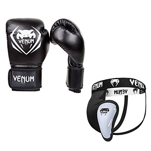 Venum Contender V.09 Boxset, Schwarz, Boxhandschuhe 14 oz + Tiefschutz XL