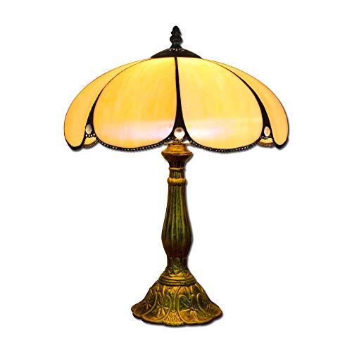 Hobaca® 12 Zoll Bernstein Glas Tiffany Luxus Antik Nachttischlampen für Schlafzimmer Wohnzimmer Art Deco Coffe Traditionelle Tisch Schreibtisch Edison Lampe 02