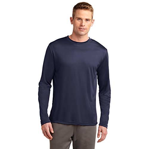 Dri-Tek Big & Tall Long Sleeve Moisture Wicking Athletic T-Shirt, NAVY, 4XLT