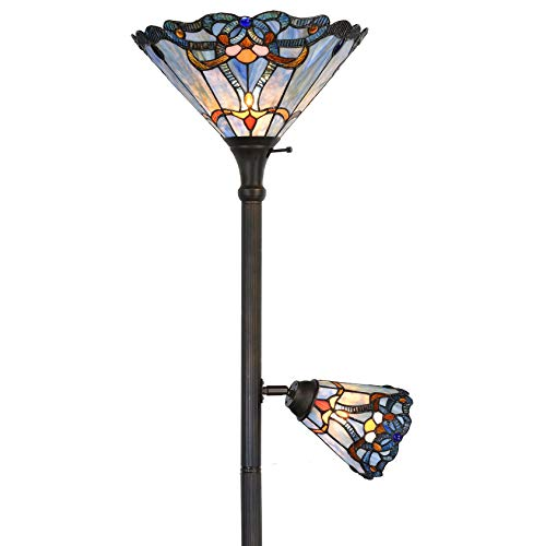 Bieye L10686 Baroque Tiffany Style Stained Glass Torchiere Floor Lamp Double Lit with 14 inch Wide Blue Shade and 6 inch Wide Rotatable Shade for Working Reading Living Room Bedroom, 71 inch Tall 14' Tiffany Style Table