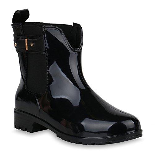 Damen Stiefeletten Gummistiefel Schnallen Profilsohle Schuhe 147900 Schwarz Schnallen 41 Flandell