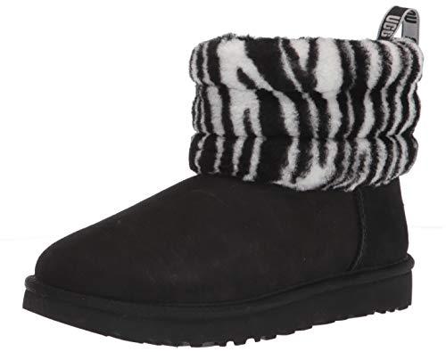 UGG Fluff Mini Quilted Zebra Boot, Black / White, Size 6