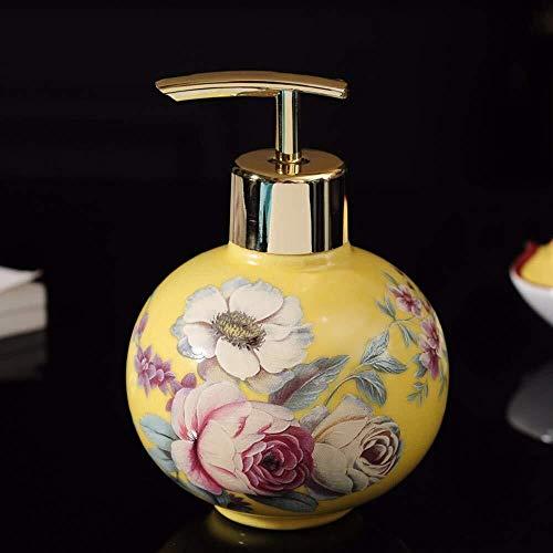 Tangrong Vloeibare zeep Container, Oriental Luxe Refillable Eco Resin Yellow Keramiek zeepdispenser, Original Design Hand Geschilderd nam Bloemen Ronde Ball Shampoo Hand Sanitizer fles, 260ml