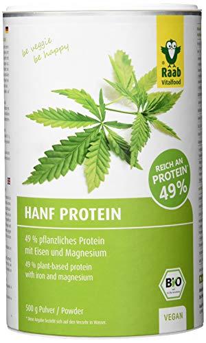 Raab Vitalfood Bio Hanf-Protein 500 g, rein pflanzlich, Protein-Pulver mit 49 {723e04365569a4f827d3a7baac155426b6b2e4ff8ab5cf8f1f01a0e20d210ef1} Protein, Hanf-Mehl, Eiweiß-Shake, vegan, glutenfrei, laborgeprüft