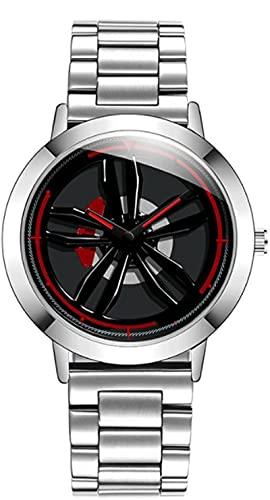 ZFAYFMA Reloj De Hombre, Reloj De Rueda De Llanta De Coche 3D, Reloj Deportivo De Cuarzo, Coche Creativo Al Aire Libre White