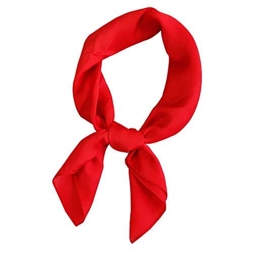 Plaza de satén de seda las mujeres Feel mantón de la bufanda pequeña llanura Pañuelo Pañuelo de cabeza y cuello diadema color sólido lazo del pelo (rojo)