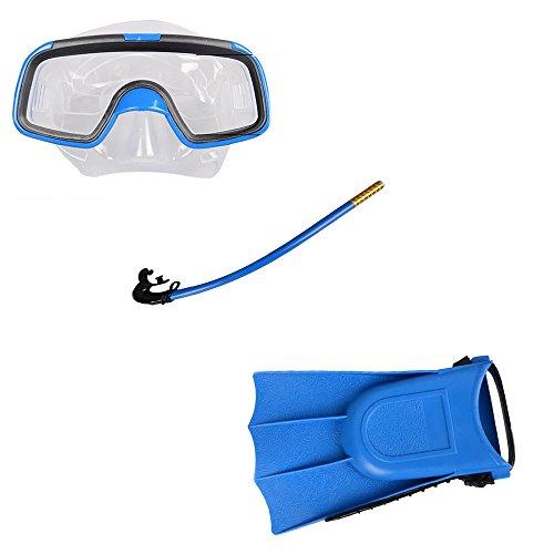ZAMAC Combinaison de trois pièces avec tuba Lunettes enfant Lunettes de natation Lunettes de natation Tube de respiration, bleu