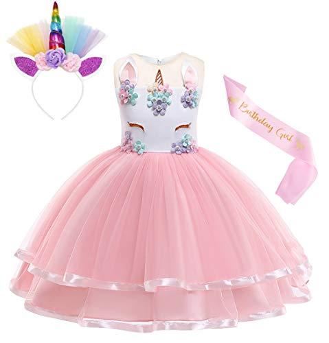 Jurebecia Abito Unicorno Vestito da Unicorno tutù Costume da Principessa per Bambina Carnevale Principessa Vestito Rosa 9-10 Anni