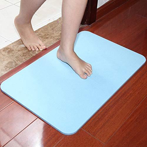 qazwsx Alfombrillas de diatomeas para Interiores Alfombra de Entrada Absorbente Alfombrillas y alfombras de baño únicas Alfombrilla de Barro de diatomeas Azul 45x35cm (18x14 Pulgadas)