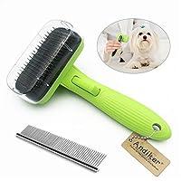 Andiker Brosse de toilettage pour chiens et chats, brosse auto-nettoyante, facile à nettoyer, réduit efficacement la perte de poils pour chiens et chats de petits, moyens et grands, avec poils courts et longs