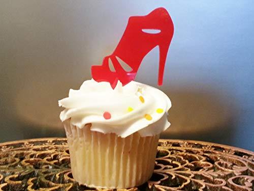 Ad4ssdu4 High Heel Cupcake Topper Sandale Cupcake Topper Schuh Cupcake Topper Mode Königin Cupcake Dekoration Shopping Diva Babyparty Mädchen Geburtstag