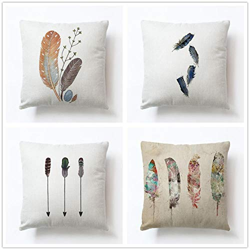 ZYFSKR Cotton Linen Pillow Covers Cushion Garden Furniture Cushions Peacock Hand-Painted Feather Cushion Cover For Sofa Living Room Bookstore Home Decorative 4 Pcs 45X45Cm