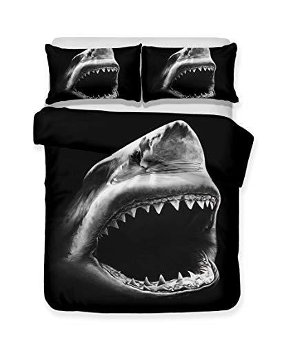 WENYA Funda nórdica Tiburón 3D Animal Ropa de Cama Azul Negro Misterioso Oceano Funda nórdica y...