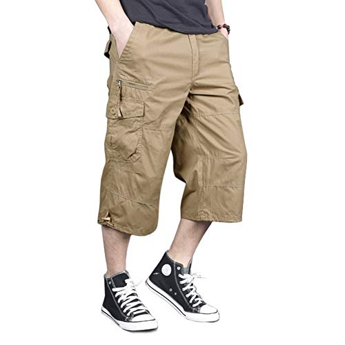 MAGNIVIT 3/4 Casual Cargo Shorts for Men Loose Fit Twill Capri Long Shorts with Multi-Pockets Khaki