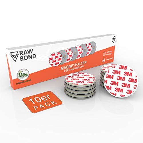 RAWBOND® Magnethalterung Rauchmelder [10er Set] - Praktischer Rauchmelder Magnethalter mit extra starkem Halt - Universelle Magnetbefestigung für Rauchmelder an verschiedensten Oberflächen