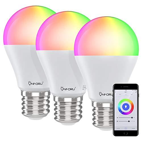 Onforu 3er Alexa Lampen, E27 WiFi Glühbirne bunt, Farbig Smart LED Birne Dimmbar mit Warmweiß und Kaltweiß, WLAN Light Bulb 7W ohne Hub, RGB Farbwechselbirne Kompatibel mit Alexa Google Assistant