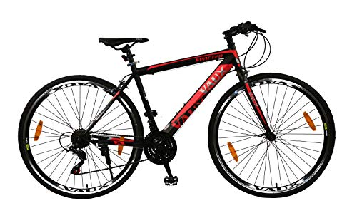 "Vaux 700x35C Swifter Adult Bike Tubular Wheels 19"" Frame Hybrid Cycle Rigid Fork for Men - Black"