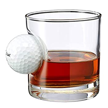 BenShot Golf Ball Glass with Real Golf Ball Embedded Made in the USA  1 11oz Rocks