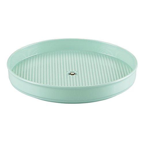 iDesign Clarity Schmuck Organizer, drehbare Aufbewahrung für Ohrringe, Ketten etc, praktische Alternative zum Schmuckkoffer, Kunststoff, mint, 22.86x22.86x3.81 cm