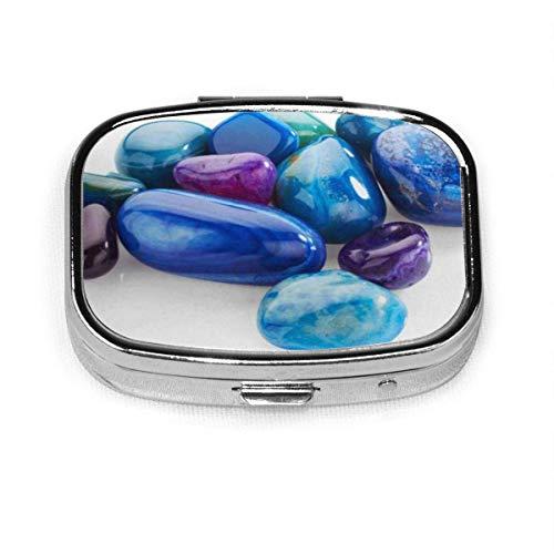 DODOD Pill Box Square Metal Pill Box se utiliza para el diseño de bolsillo o monedero. Azul Preciosas Piedras Semipreciosas Púrpura Turquesa Joyas Macro