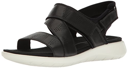 Price comparison product image ECCO Women's Soft 5 Cross Strap Flat Sandal,  Black / Black,  39 EU / 8-8.5 M US