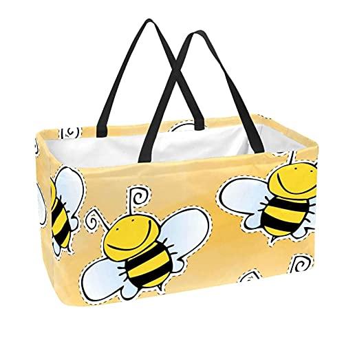 Bolsa de comestibles reutilizable grande, resistente bolsa de compras con parte inferior reforzada y asa (estampado de abejas)