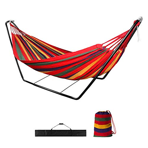 Hammock with Stand,Garden Outdoor Camping Hammock with Frame,Kid Indoor Double Swing Hammock with Metal Stand for Travel Patio,Child Adult Large Portable Rainbow Cotton Hammock with Carry Bag(red)