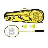 Wilson Minions Set de Bádminton, 2 raquetas, 2 volantes, Bolsa de transporte, Amarillo/negro, WR065310F2