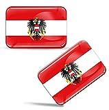 Biomar Labs® 2 x Aufkleber 3D Gel Silikon Stickers Österreich Austria Österreichische Flagge Fahne Flag Wappen Emblem Auto Motorrad Fahrrad Fenster Tür PC Handy Tablet Laptop F 81