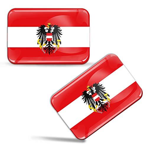 Biomar Labs® 2 x 3D Domed Siliconen Stickers Decals Oostenrijk Nationale Oostenrijkse Vlag Wapen Embleem Auto Motorhelm F 81