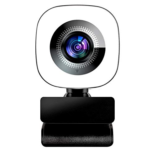 2021 New Upgraded 2K 1440P Streaming Webcam with Ring Light,Webcam with Microphone for Desktop,with Flexible Rotable Wide Angle, Plug and Play, for Zoom Skype YouTube, PC Laptop Computer