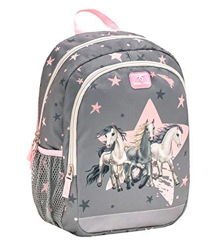 Belmil Kindergartenrucksack mit Brustgurt und Namensschild für 3-6 Jährige/Mädchen / 12 L/Krippenrucksack Kindergartentasche Kindertasche/Pferd/Pink Grau (305-4/A Star Horses)