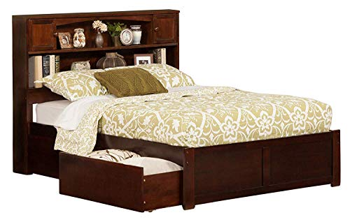 Atlantic Furniture Newport Platform 2 Urban Bed Drawers, Full, Walnut, Double