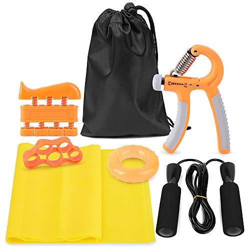 Lixada Handtrainer Fingertrainer, 7er-Pack, Handgriffverstärker, Hand & Finger Exerciser, Finger Stretcher Band, Handgriffring mit Springseil, Widerstandsband und Tragetasche
