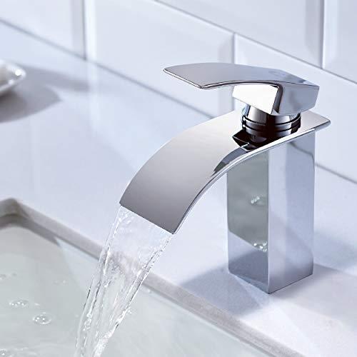 CECIPA Ares X102C Wasserhahn Bad,Wasserfall Wasserhahn Badezimmer Einhandmischer Waschtischarmaturen Messing Mischbatterie Verchromt Badarmatur Waschbecken,Moderner Stil