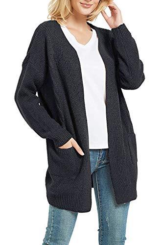 FUTURINO Strickjacke Damen Grobstrick Cardigan Strickmantel Open Front Outwear Cover Up mit Taschen, 01 Dunkelgrau, L