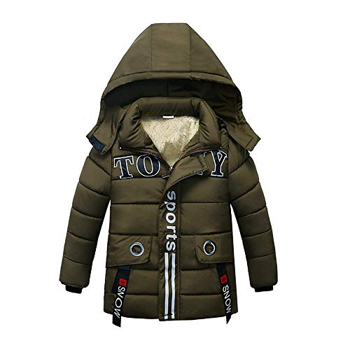 HUHU833 Baby Kapuzen Mantel Kinder Daunenmantel Baby Jungen Mädchen dicken Mantel gepolsterte Winterjacke Kleidung (Armeegrün, 2-3Jahre)