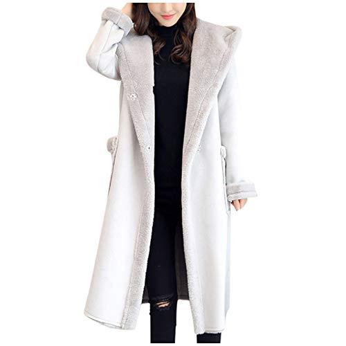 Minikimi Damesjas, elegant lange pluche jas met capuchon, warme wollen mantel, goedkoop wintermantel, outwear, winterjas, gevoerd parkajas