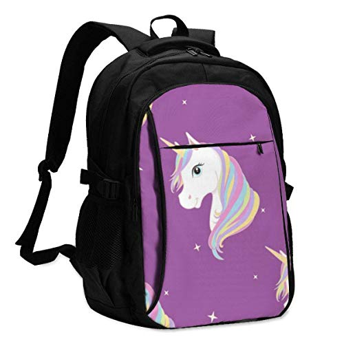 asfg Resistente a Las Manchas Horse Purple Multifunctional Personalized Customized USB Backpack, Student School Outdoor Backpack,Travel Bag Laptop Bookbags Business Daypack.