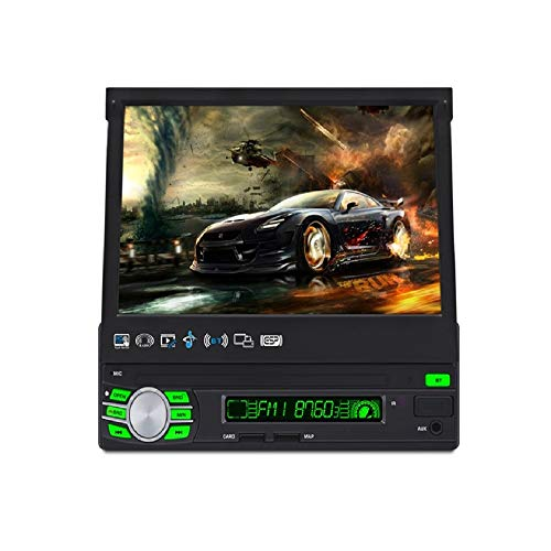 7-inch Automatic Retractable Screen Single DIN in-Dash GPS Navigation for Car with WiFi and Free Backup Camera,Android System,Support Offline GPS Navigation and WiFi,Flip Out Touch Screen Car Stereo