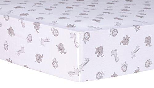 Trend Lab Safari Chevron Animals Fitted Crib Sheet, Black/Wh