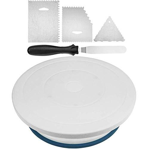 PrimeMatik - Kuchen Plattenspieler mit Raster-Kit. Manuelle rotierende drehteller 28 cm Weiss