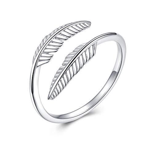Ring Federn Verstellbar Silber Fuchs Ring Damen 925 Sterling Silber Fox Ring Finger Verstellbar Geschenk Damen (C-feder ring silber)