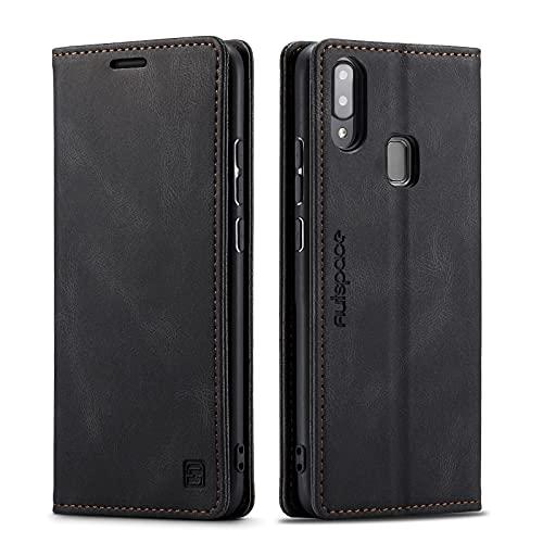 LOLFZ Hülle für Samsung Galaxy A40, Vintage Dünne Leder Handyhülle mit RFID Schutz Kartenfach Ständer Magnetische Flip Schutzhülle Kompatibel mit Galaxy A40 - Schwarz