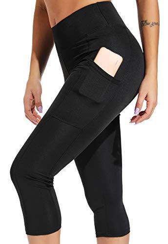 FITTOO Mallas 3/4 Leggings Mujer Pantalones de Yoga Alta Cintura Elásticos y Transpirables Negro M